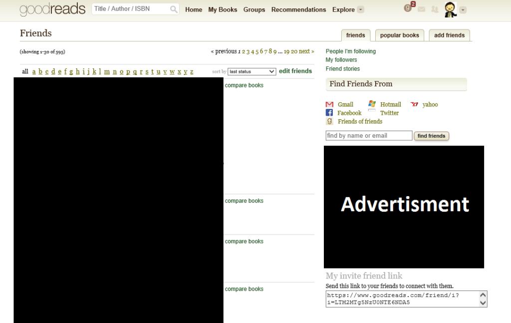 Goodreads Friends List Screenshot