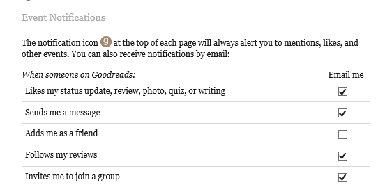 Goodreads email event notifications